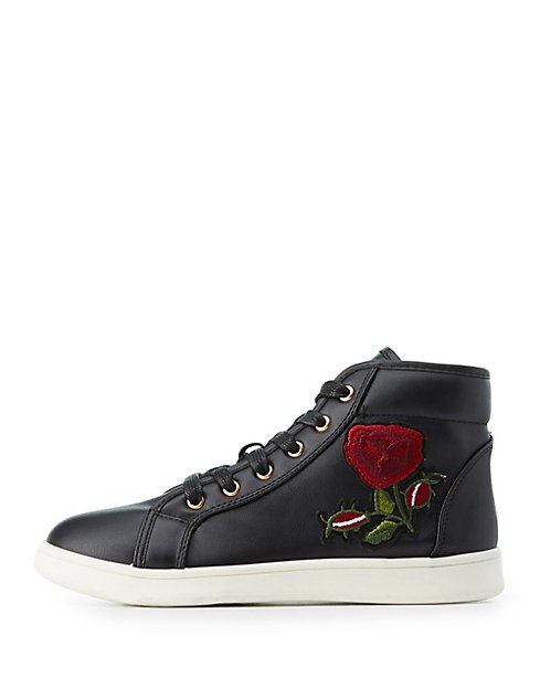 Bamboo rose embroidered high top sneakers charlotte russe