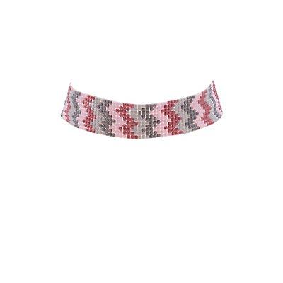 Beaded Chevron Choker Necklace