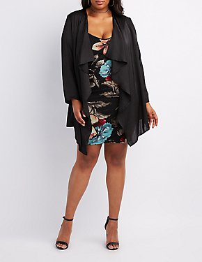 Plus Size Silky Draped Open Cardigan