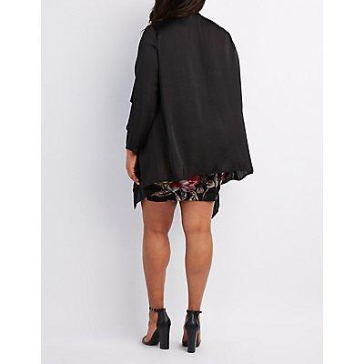 Plus Size Silky Draped Open Cardigan