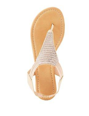 Beaded Thong Slingback Sandals
