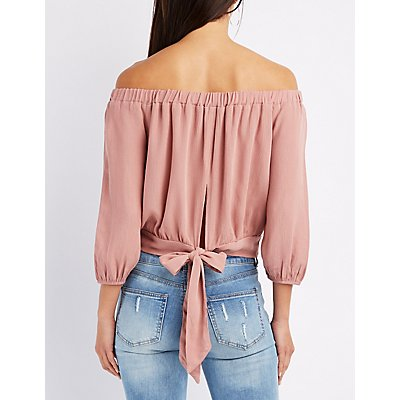 Off-The-Shoulder Tie-Back Top