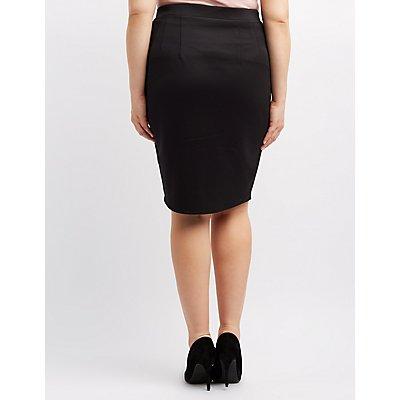 Plus Size Lace-Up Pencil Skirt