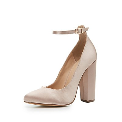 Ankle Strap Block Heel Pumps