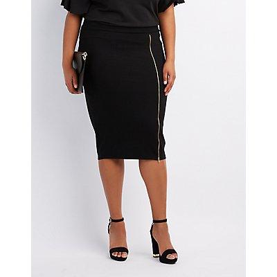 Plus Size Zipper-Trim Pencil Skirt