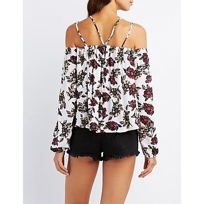 Floral Strappy Cold Shoulder Top