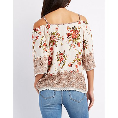 Floral Crochet-Trim Cold Shoulder Top