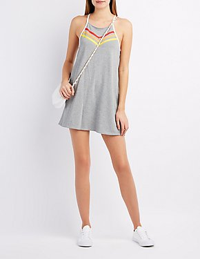 French Terry Bib Neck Shift Dress