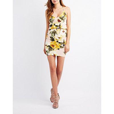 Floral Ruffle-Trim Bodycon Dress