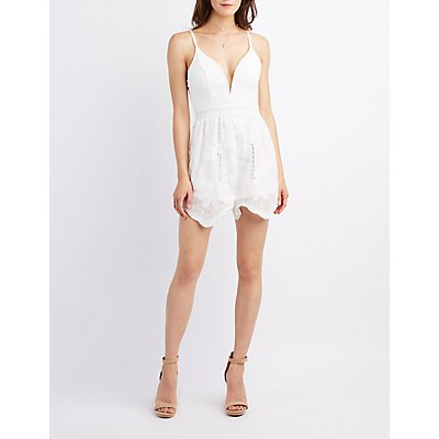 Embroidered Plunging Romper