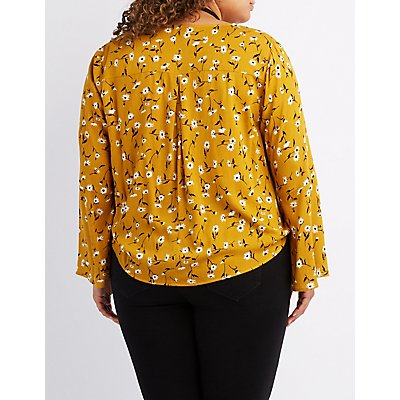 Plus Size Floral Surplice Bell Sleeve Blouse