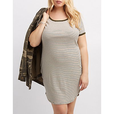 Plus Size Striped Ringer Bodycon Dress