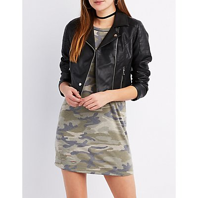 Faux Leather Quilted-Trim Moto Jacket
