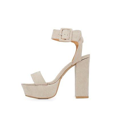 Qupid Two-Piece Platform Sandals
