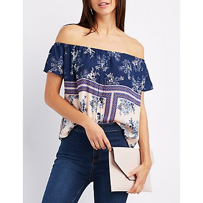 Printed Off-The-Shoulder Button Top