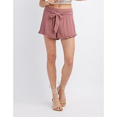 Tie Front Ruffle-Trim Shorts