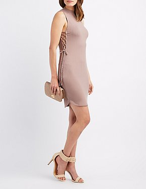 Lace-Up Sides Bodycon Dress