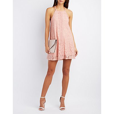Lace Bib Neck Shift Dress