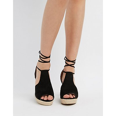 Qupid Lace-Up Wedge Sandals