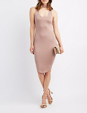 Choker Neck Midi Dress