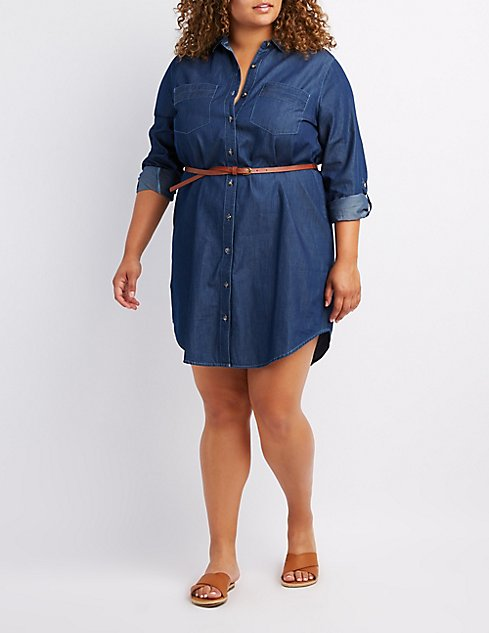 Plus Size Belted Chambray Shirt Dress | Charlotte Russe