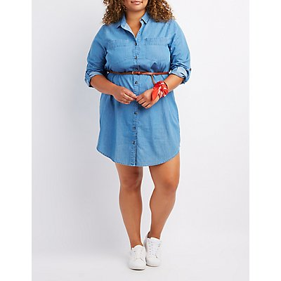 Plus Size Belted Chambray Shirt Dress
