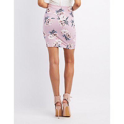 Floral Bodycon Mini Skirt