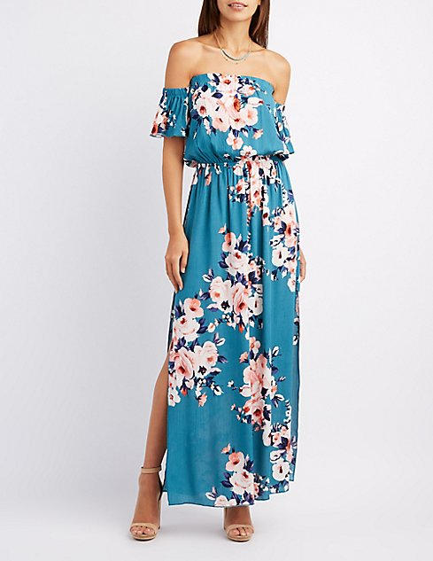 Floral Off-The-Shoulder Maxi Dress | Charlotte Russe