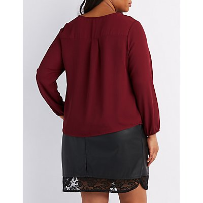 Plus Size Lace-Up Blouse