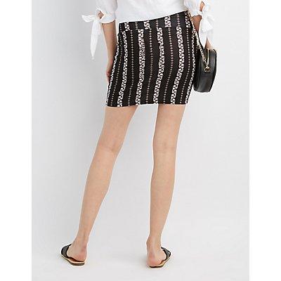 Striped Floral Bodycon Mini Skirt