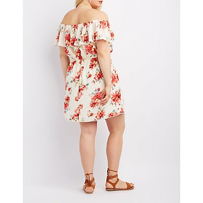 Plus Size Floral Off-The-Shoulder Ruffle Dress