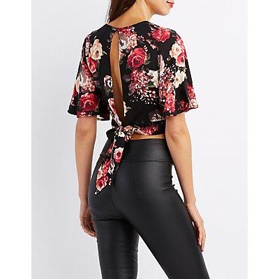 Floral Kimono Sleeve Crop Top