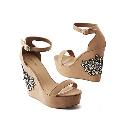 Bamboo Embroidered Two-Piece Wedge Sandals