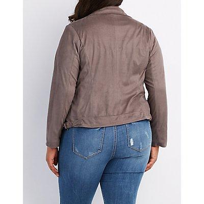 Plus Size Faux Suede Moto Jacket