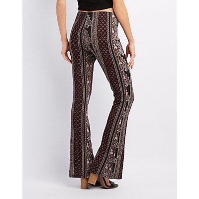 Lace-Up Printed Flare Pants