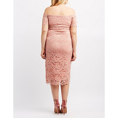 Plus Size Off-The-Shoulder Lace Dress