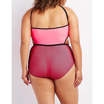 Plus Size Mesh-Trim One-Piece Swimsuit