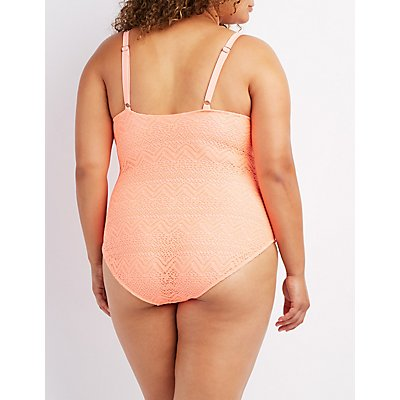 Plus Size Crochet One-Piece Swimsuit