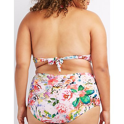 Plus Size Floral Halter Bikini Top