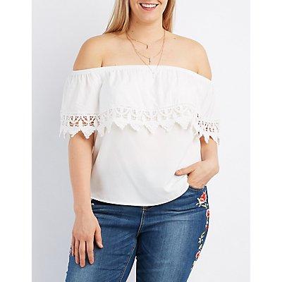 Plus Size Crochet-Trim Off-The-Shoulder Top