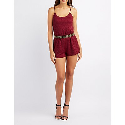 Lace Scoop Neck Romper