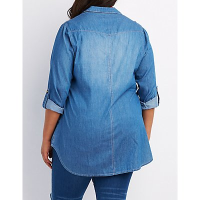 Plus Size Chambray Button-Up Tunic Top