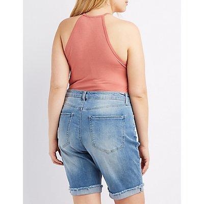 Plus Size Bib Neck Bodysuit