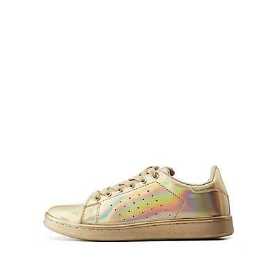 Qupid Holographic Lace-Up Sneakers