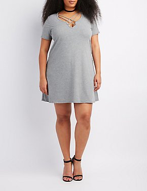 Plus Size Ribbed Lace-Up Shift Dress