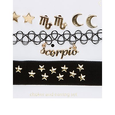 Scorpio Choker Necklaces & Earrings Set
