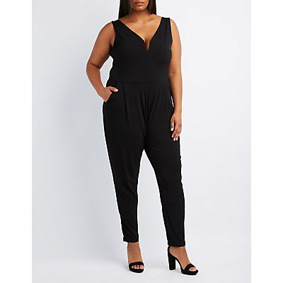 Plus Size Plunging Notched Jumpsuit