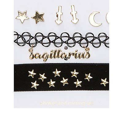 Sagittarius Choker Necklaces & Earrings Set