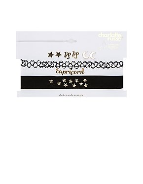 Capricorn Choker Necklaces & Earrings Set