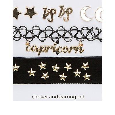 Capricorn Choker Necklaces & Earrings Set